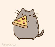 Кот Пушин кушает пиццу
