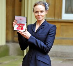 Fashion designer Stella McCartney after receiving her OBE, March 2013; her fascinator incorporated two brooches, one of which was a gift from her father, Paul McCartney, to her mother: 'It was a gift from my father to my mother – so I feel like my parents are both here with me'.