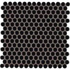 MSI Penny Round Nero 11.3 in. x 12.2 in. x 6mm Porcelain Mesh-Mounted Mosaic Tile-PT-PENRD-NERO - The Home Depot