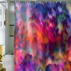 Awesome way to brighten up the bathroom! Amy Sia 'Sunset Storm' Shower Curtain
