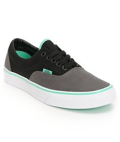 Make sure the good times keep coming in the Era Charcoal, Black, and Mint low profile skate shoe from Vans, featuring the classic skate shoe look with an extra grippy vulcanized construction, a super durable canvas upper, minimal padding on tongue with a