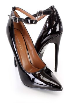 These sexy and stylish single sole heels include a patent faux leather upper with a pointed closed toe, scoop vamp, ankle strap with a side buckle closure, smooth lining, and cushioned footbed. Approximately 4 3/4 inch heels.http://www.amiclubwear.com/shoes.html
