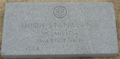 Hugh Stanaland Jr, 1794-1863.   Grandfather of Samuel L Stanaland Sr.