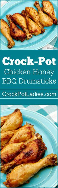Crock-Pot Chicken Honey BBQ Drumsticks - With just three ingredients (chicken legs, barbecue sauce and honey) this recipe for Crock-Pot Chicken Honey BBQ Drumsticks is sure to please everyone! via @CrockPotLadies