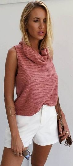 Pink Summer Knit + White Shorts                                                                             Source