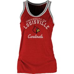 Louisville Cardinals NCAA Womens Double Ringer Tri-Blend Tank Top