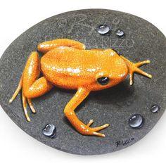 Una splendida rana dorata 'poggiata' su pietra, un sorprendente trompe l'oeil realizzato ad acrilico dall'artista Roberto Rizzo!