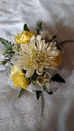Fancy Florals by Nancy Homecoming Flowers, Prom Flowers, Wedding Flowers, Corsage And Boutonniere, Flower Corsage, Boutonnieres, Prom Coursage, Yellow Peonies, Golden Wedding Anniversary