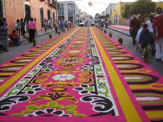 "street ""tapestries"" made with flower petals and colored sawdust at the annual fair in Huamantla, Tlaxcala, Mexico"