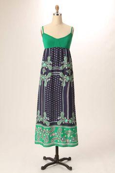 843b02cbcc28 Anthropologie Lilka Bandanna Chemise Maxi Dress XS Blue Green Paisley Silk  EUC #Anthropologie #Maxi