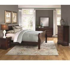 Bed, dresser, mirror, nightstand, and chest $998