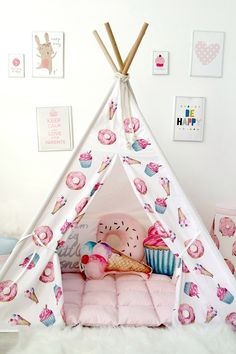 Pink girls teepee with donuts cupcakes ice cream to buy on Etsy - Happy Spaces Workshop - pink tipi wigwam for girl room indoor outdoor play tent room ideas for girls Kids Bedroom Ideas For Girls Toddler, Bed For Girls Room, Little Girl Rooms, Girls Bedroom, Kids Room, Bedroom Decor, Girls Teepee, Childrens Teepee, Teepee Kids