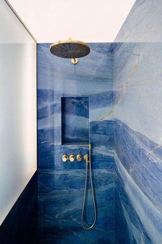 bathroom splashback Blue Marble Splashback Ideas - Interiors By Color Blue Granite, Marble Showers, Decoration Design, Bathroom Interior Design, Modern Interior, Bathroom Inspiration, Bathroom Inspo, Modern Bathroom, Home Decor