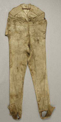Trousers Date: 18th century Culture: probably American Medium: leather Credit Line: Gift of Mary Alice Dykman Dean (Mrs. Bashford Dean), 1950 Accession Number: C.I.50.98.1a–c