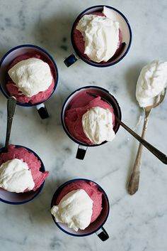 gin in sorbet - must try! rhubarb and gin sorbet with rose cream by yossy Köstliche Desserts, Frozen Desserts, Frozen Treats, Delicious Desserts, Dessert Recipes, Yummy Food, Healthy Food, Kreative Desserts, Rhubarb Recipes
