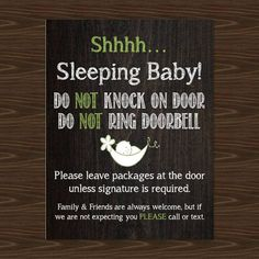 This is a listing for 1 Do Not Ring Doorbell Magnet. Also known as a Baby Sleeping Magnet, Front Door Magnet, Shh Baby Sleeping Sign or No Soliciting while New Baby is home! Choose from 3 different sizes: Business Card Size: 3.43 x 1.93 Postcard Size: 5.47 x 4.21 Full Page Size: 8.73 x 11.48 Professionally Printed with the best quality. Perfect to stick on the front door during nap times! Baby Sleeping Magnet, Do Not Ring Doorbell Magnet, Front Door, Sleeping Baby No solicitation, No Soli...
