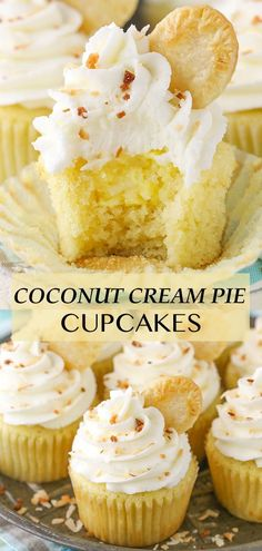 These Coconut Cream Pie Cupcakes are made with a moist coconut cupcake filled with coconut cream filling and topped with coconut frosting! They are full of texture and flavor and so fun! Coconut Frosting, Coconut Desserts, Coconut Cupcakes, Delicious Desserts, Yummy Food, Easy Cupcake Recipes, Easter Recipes, Dessert Recipes, Creative Desserts