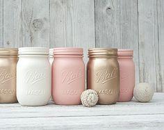 6 Peach and Rose Gold Wedding Centerpieces, Mason Jar Vases, Country Wedding Decor, Blush Gold