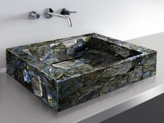 Labradorite is the mystical magical stone. Imagine washing your face from this source of power every morning! Stone Bathroom, Modern Bathroom, Bathroom Ideas, Beautiful Bathrooms, Tv Wall Decor, Goth Home, Luxury Kitchen Design, Crystals In The Home, Crystal Magic