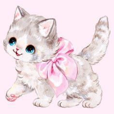 Image Chat, Cute Animal Drawings, Kawaii Art, Vintage Artwork, Cute Images, Cat Drawing, Cat Art, Cute Wallpapers, Art Inspo