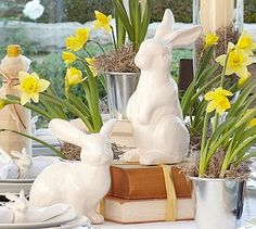 Ceramic Bunnies from Pottery Barn.Our bunnies add subtle playfulness to an Easter or spring showcase.