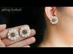 Diy Earrings Studs, Beaded Earrings, Seed Bead Earrings, Beaded Bracelets, Seed Beads, Diamond Earrings, Seed Bead Bracelets Tutorials, Beaded Bracelet Patterns, Bead Patterns