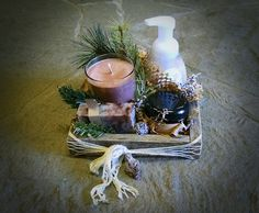 Pallet wood gift box with soy candle, soap, lotion and face scrub.