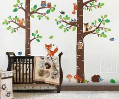 Tree Tops Woodland Critters Nursery Playroom Vinyl by styleywalls, $165.00