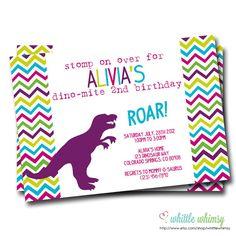 Chevron Dinomite Dinosaur Girl Birthday by whittlewhimsy on Etsy, $13.00