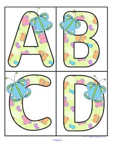 ***FREE***  This is a set of large upper case letters with a Butterfly theme.  Use to make matching and recognition games for preschool and pre-K children. Large enough for bulletin board and room décor.