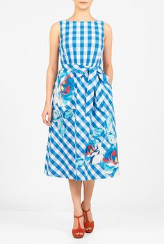 I <3 this Floral print applique gingham check dress from eShakti