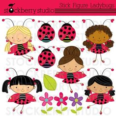Stick Figure Ladybug Girls Personal and Commerical Use Clipart Set. $5.00, via Etsy.