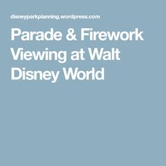 Parade & Firework Viewing at Walt Disney World