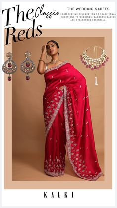 Blood red saree in dupion silk with zari, sequins and cut dana embroidered floral buttis and scallop design on the border. Trimmed with salli fringes on the pallu. It comes with a matching unstitched blouse in dupion silk. WASH CARE INSTRUCTION: Dry clean only. Lehenga Designs, Saree Blouse Designs, Dupion Silk, Red Saree, Banarasi Sarees, Red Fabric, Wedding Outfits, Saree Wedding, Indian Outfits