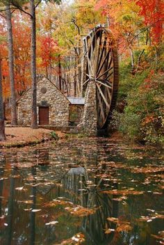 """""""Berry College Water Wheel"""" by R. Clegg Photography: This is an autumn photo of the Berry College Water Wheel that is located at Mount Berry, Georgia. Berry College, Beautiful Places, Beautiful Pictures, Autumn Scenes, Fall Pictures, Fall Photos, All Nature, Old Barns, Covered Bridges"""