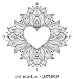 Portfolio d'images et de photos de stock de Katika   Shutterstock Heart Coloring Pages, Mandala Coloring Pages, Colouring Pages, Adult Coloring Pages, Coloring Books, Doodle Art Drawing, Mandala Drawing, Mandala Art, Silkscreen