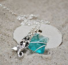 Seaglass and Mermaid Necklace  Aquamarine by ShatteredSmooth, $17.00