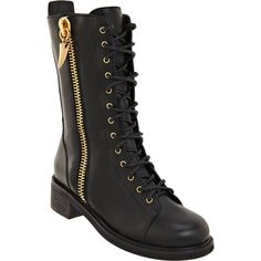 Giuseppe Zanotti Shark Tooth Combat Boot ($729) ❤ liked on Polyvore featuring shoes, boots, & - shoes, mid calf military boots, calf length boots, mid-calf boots, mid heel shoes and giuseppe zanotti boots