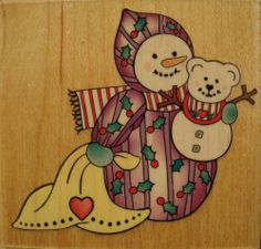Baby Emma F1037 Christmas Holiday Snowman Wood Mounted Rubber Stamp