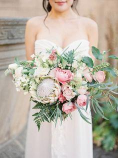 Romantic Pink Protea & Rose Bridal Bouquet