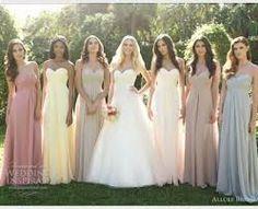 neutral bridesmaids dresses - Google Search