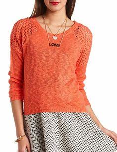 Open Knit Hi-Lo Raglan Sweater: Charlotte Russe