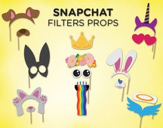 Printable Snapchat Booth Props  Snapchat filters by FiestaSupplies
