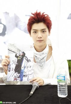 130608 EXO Official LINE account updated with their individual photo at Busan Fansign -Luhan