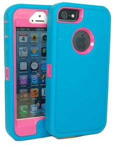 Save $2.95 on Iphone 5 Body Armor Defender Case Comparable to Otterbox Defender Series Teal Blue on Peony Pink + Bonus Cube...; only $7.04