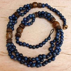 Royal Blue Beaded Necklace with Acai Nuts