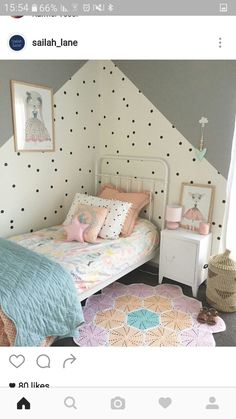 Loving all the gorgeous colours in this beautiful room . Baby Bedroom, Baby Boy Rooms, Girls Bedroom, Teen Room Decor, Bedroom Decor, My Room, Girl Room, Scandinavian Kids Rooms, Polka Dot