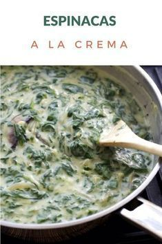 Simple recipe for Creamy Spinach, made with white sauce. They can use fresh or frozen spinach. Spinach Recipes, Vegetable Recipes, Vegetarian Recipes, Cooking Recipes, Healthy Recipes, Pasta Sauce, Chilean Recipes, Creamy Spinach, White Sauce