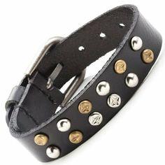 R&B Bijoux - Bracelet de Force Homme - Ajustable Style Rock - Clous Métal Doré et Argenté - Manchette Cuir (Noir). 14,90€