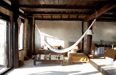 Hammocks inside bedroom in Tulum